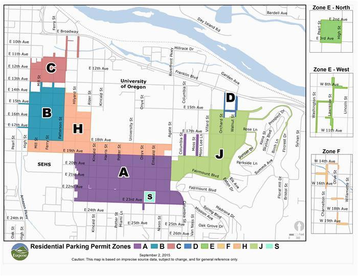 residential parking permit map eugene or website