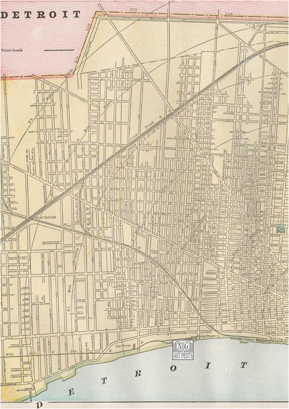 1800s large detroit map michigan street map by ngartprints etsy