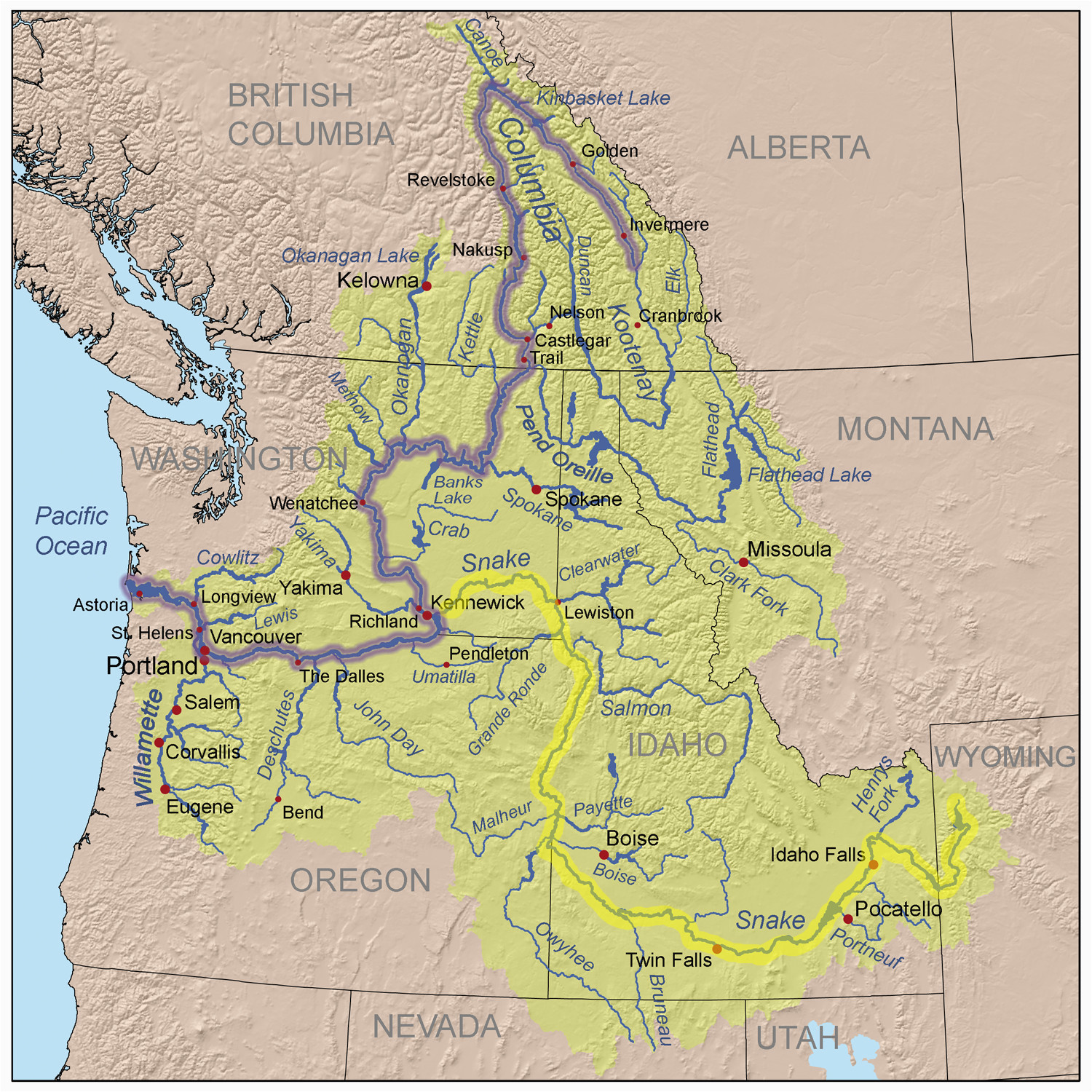 road map of oregon and california printable maps map of snake river