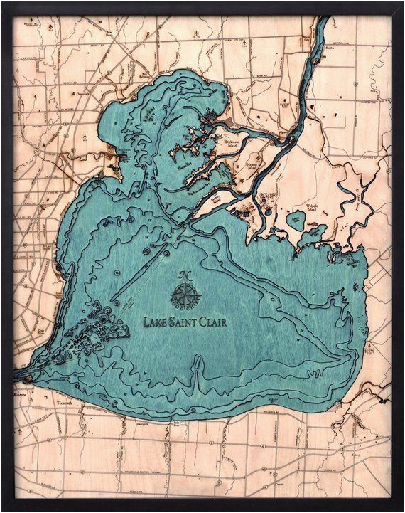 lake st clair wood carved topographic depth chart map in 2019