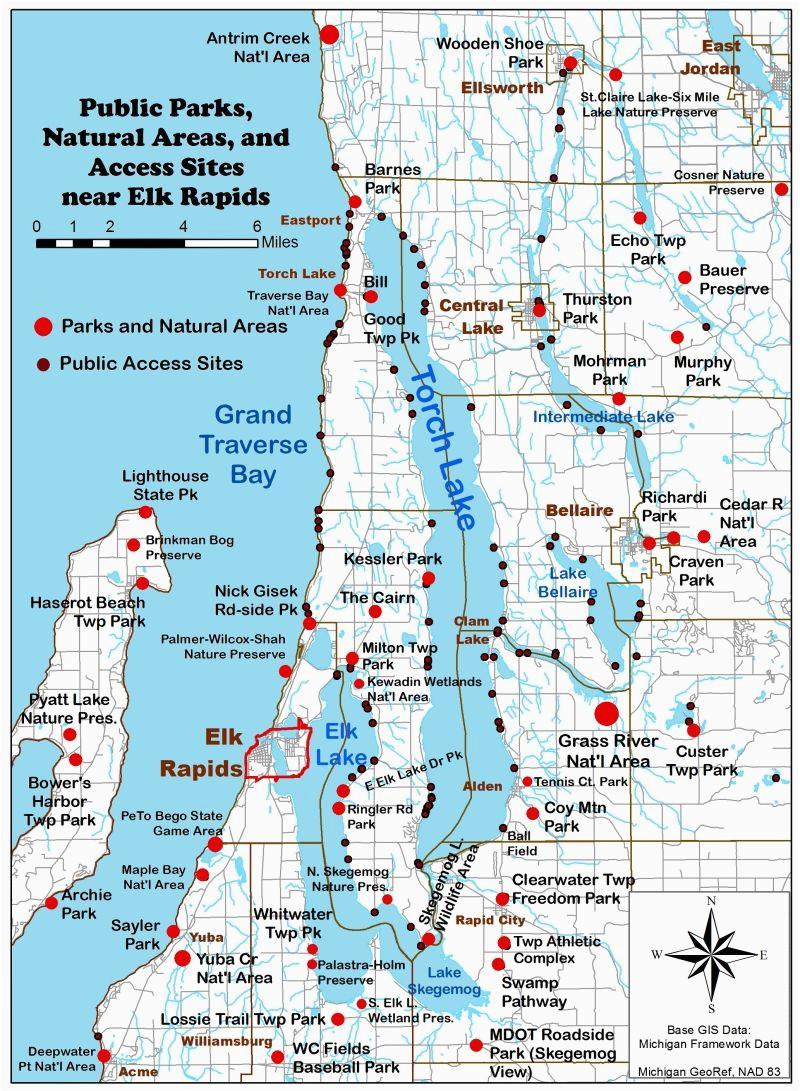 Torch Lake Michigan Map Bellaire Michigan Map