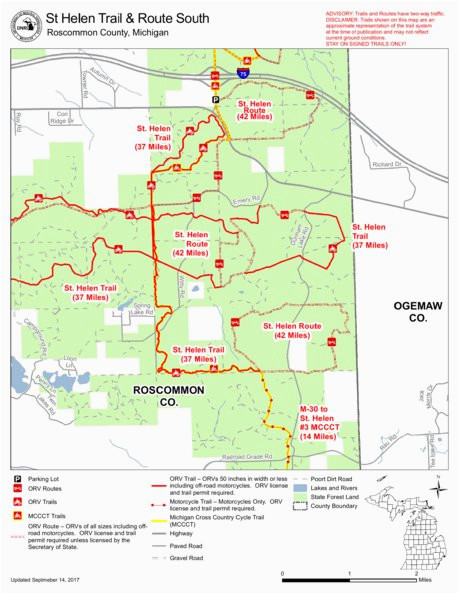 West Branch Michigan Map St Helen Orv All Cycle Conservation