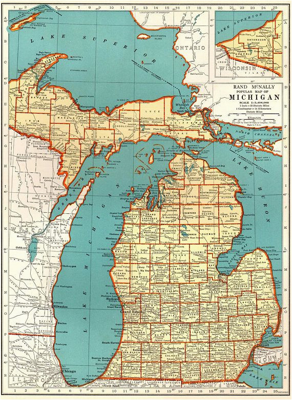 1939 vintage michigan map of michigan state map print antique map