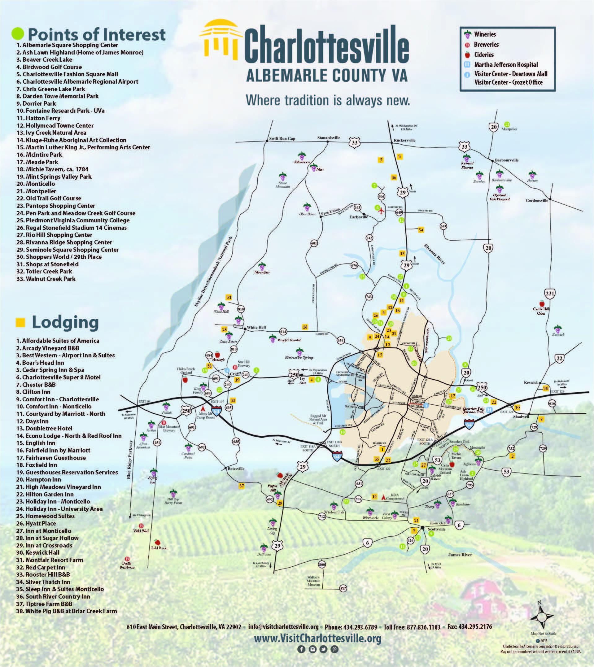 charlottesville area maps visit charlottesville