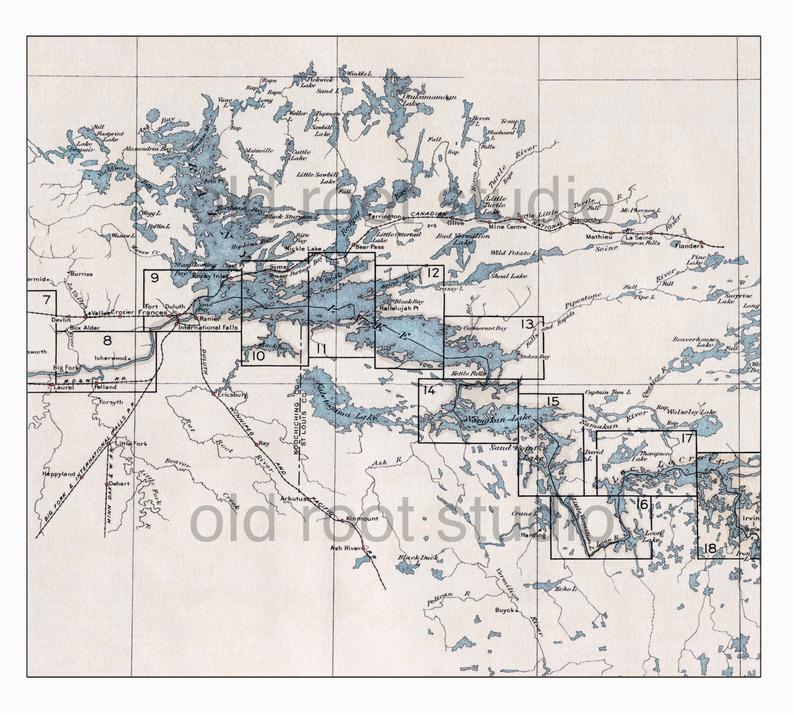 hand painted map of the boundary waters canoe area rainy etsy