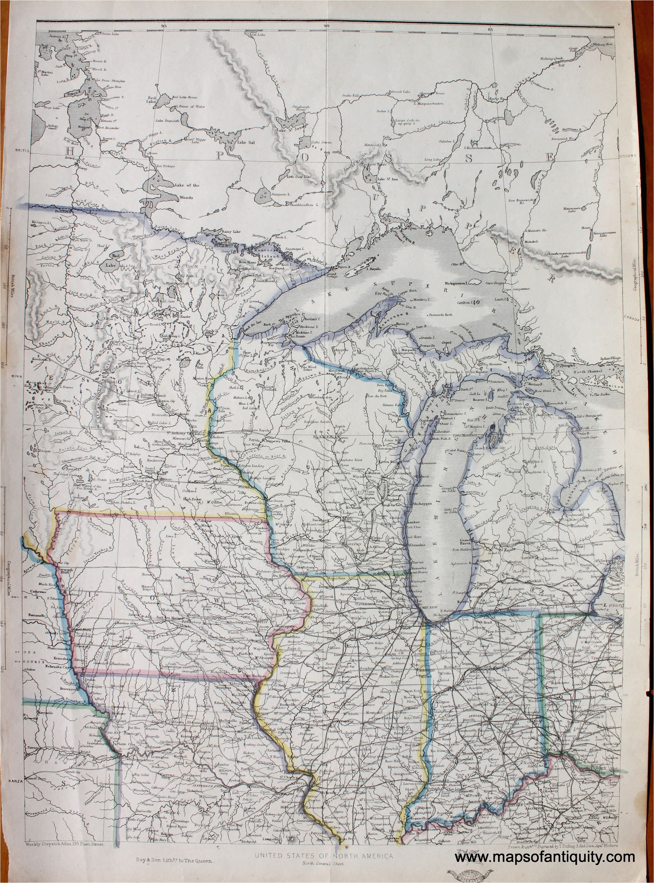 northern united states north central sheet antique maps and