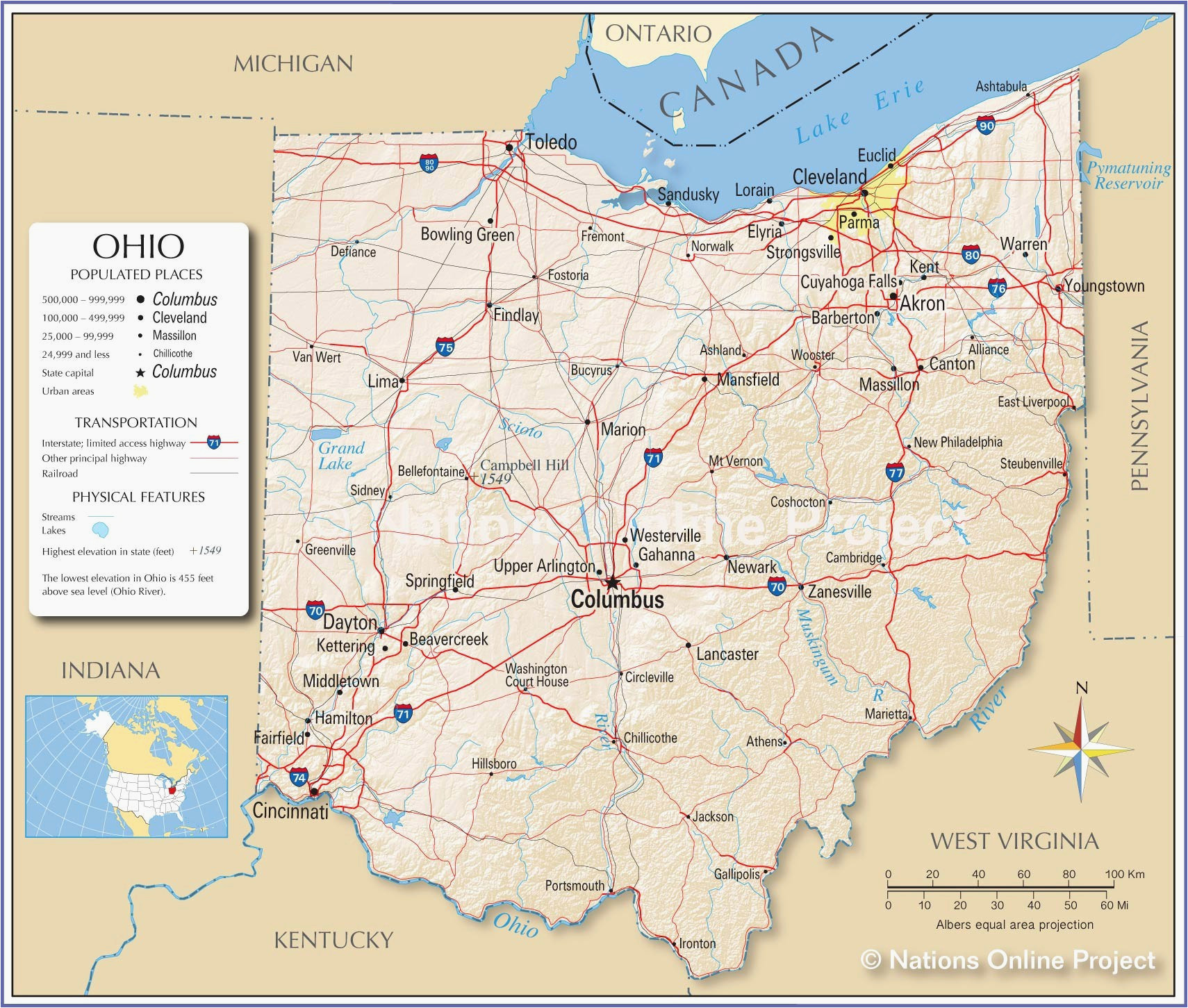 Cincinnati Ohio Map Usa on