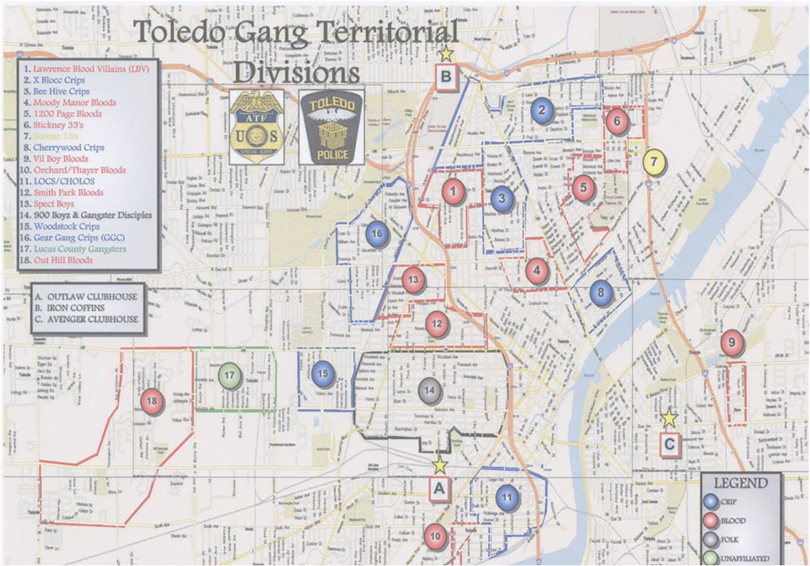toledo ohio gang map secretmuseum