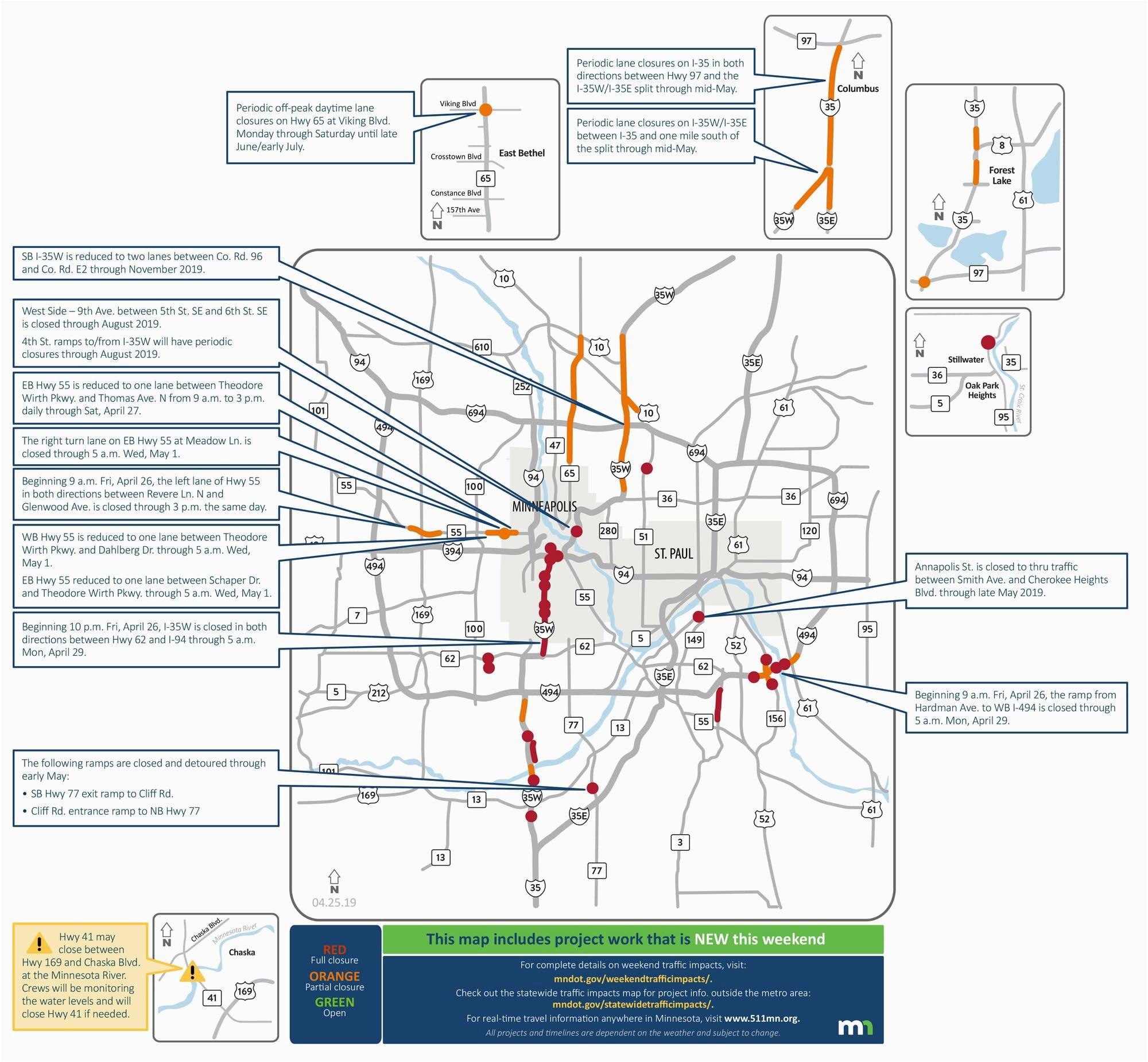 closures on i 35w lane reductions throughout metro area this weekend