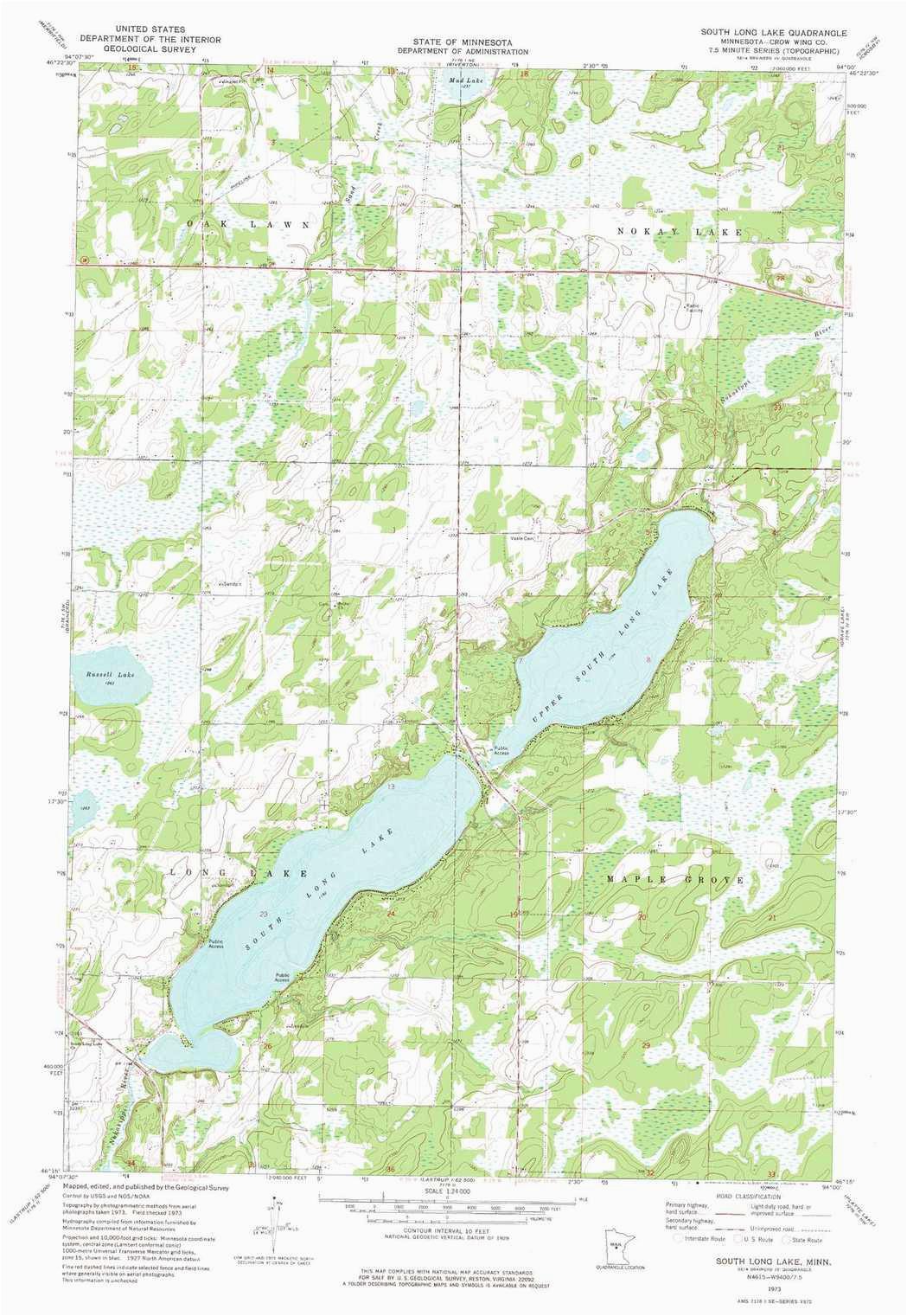south long lake topographic map mn usgs topo quad 46094c1