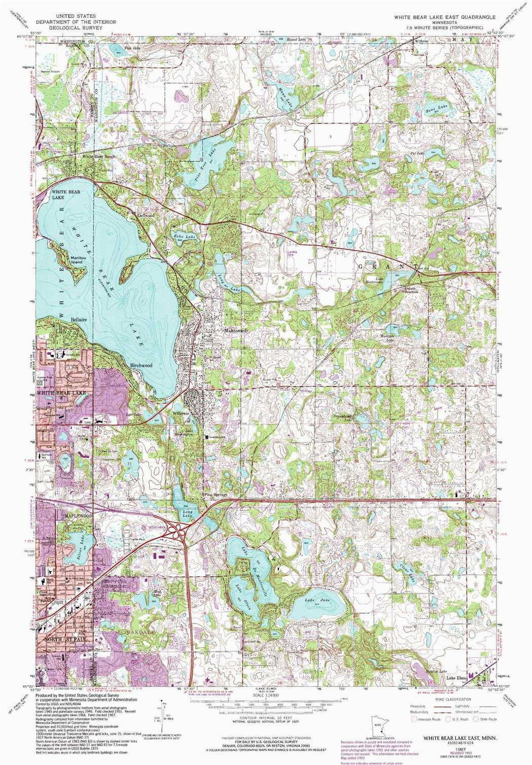white bear lake east topographic map mn usgs topo quad 45092a8