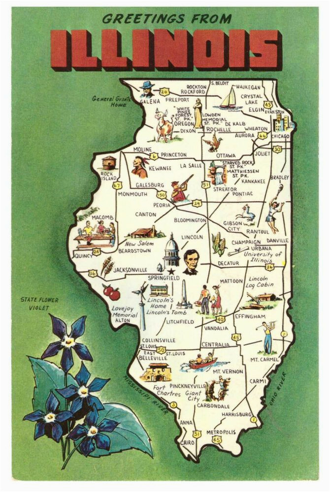 vintage state map postcards vintage 1970s illinois state map