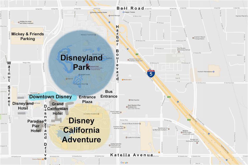 anaheim california map google maps of the disneyland resort