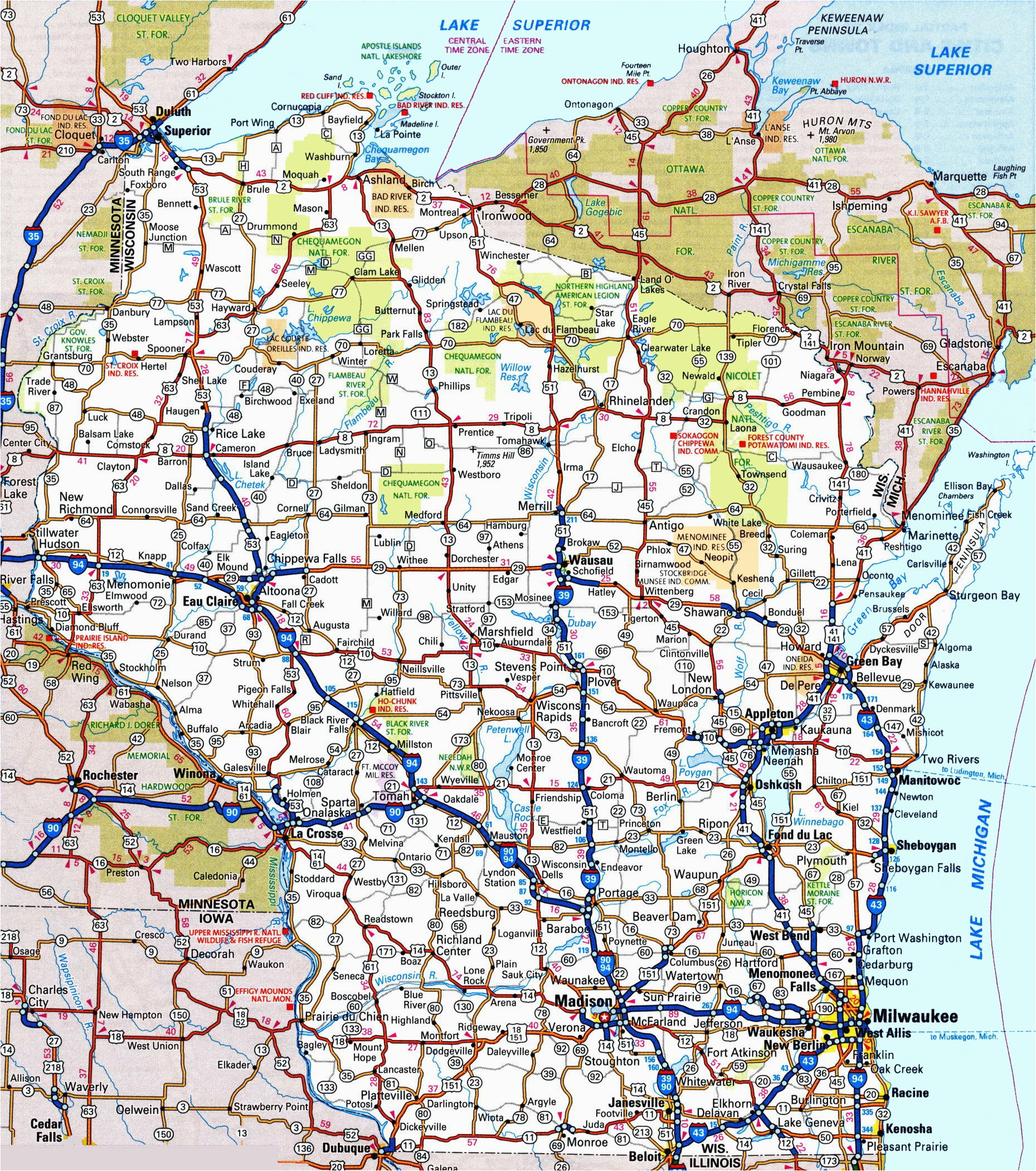 Highway Map Of Minnesota and Wisconsin | secretmuseum