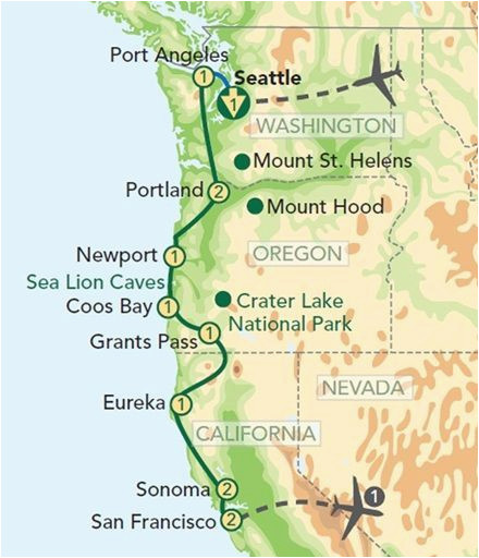 map oregon pacific coast oregon and the pacific coast from seattle