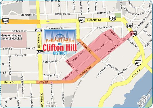 map clifton hill niagara falls for driving directions to the
