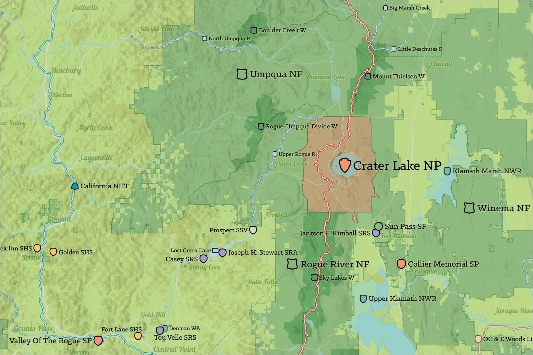 oregon state parks federal lands map 24x36 poster best maps ever