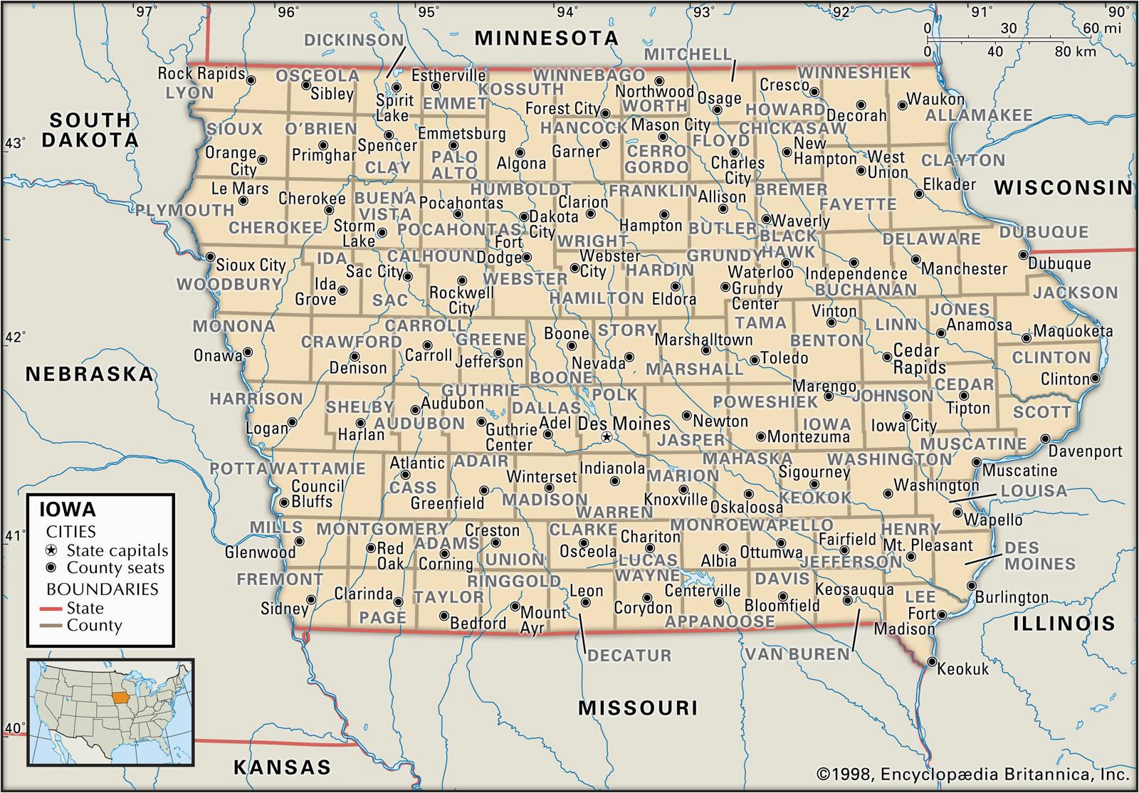 state and county maps of iowa