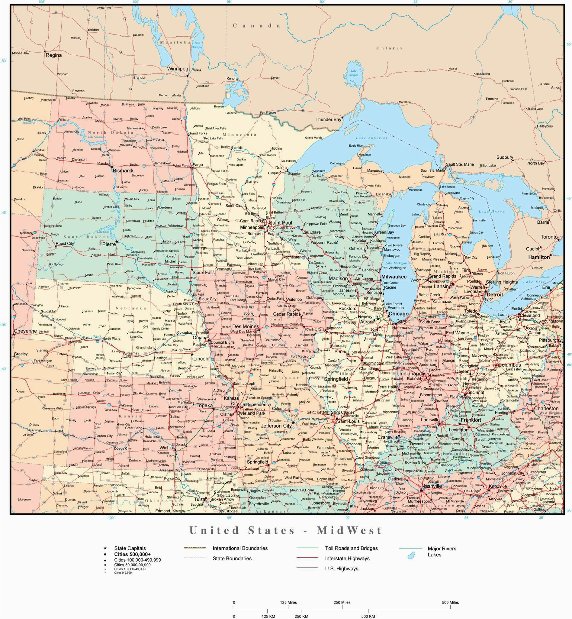 usa midwest region map with states highways and cities map resources