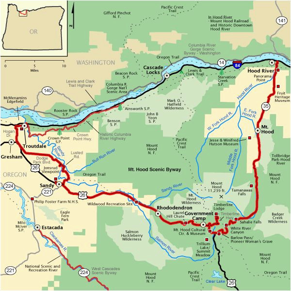 mt hood scenic byway map america s byways camping rving