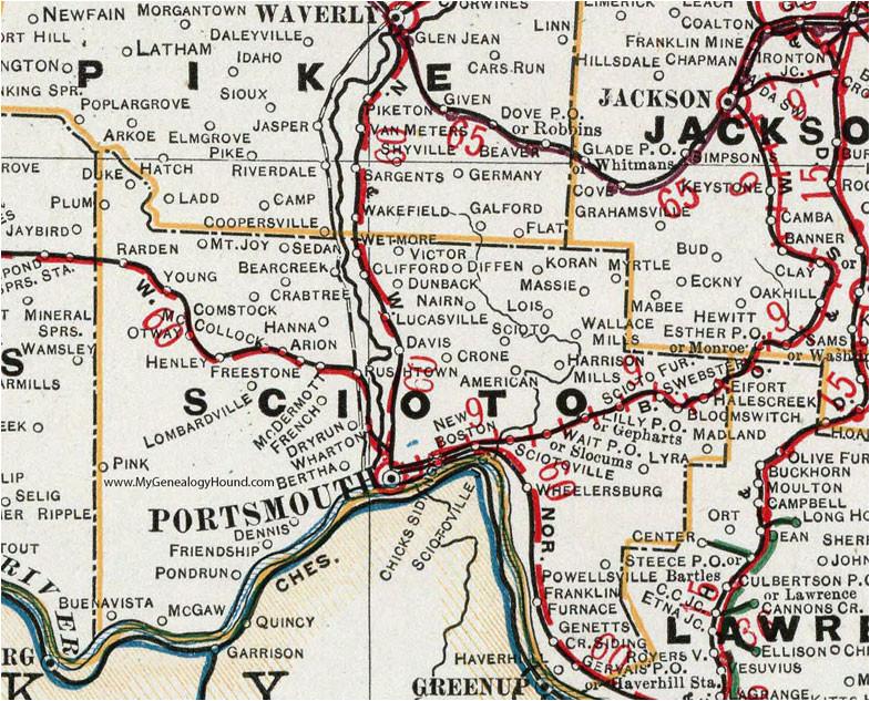 map of scioto county ohio