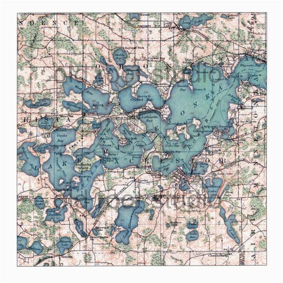 hand painted map of lake minnetonka minnesota 1905 retro lake