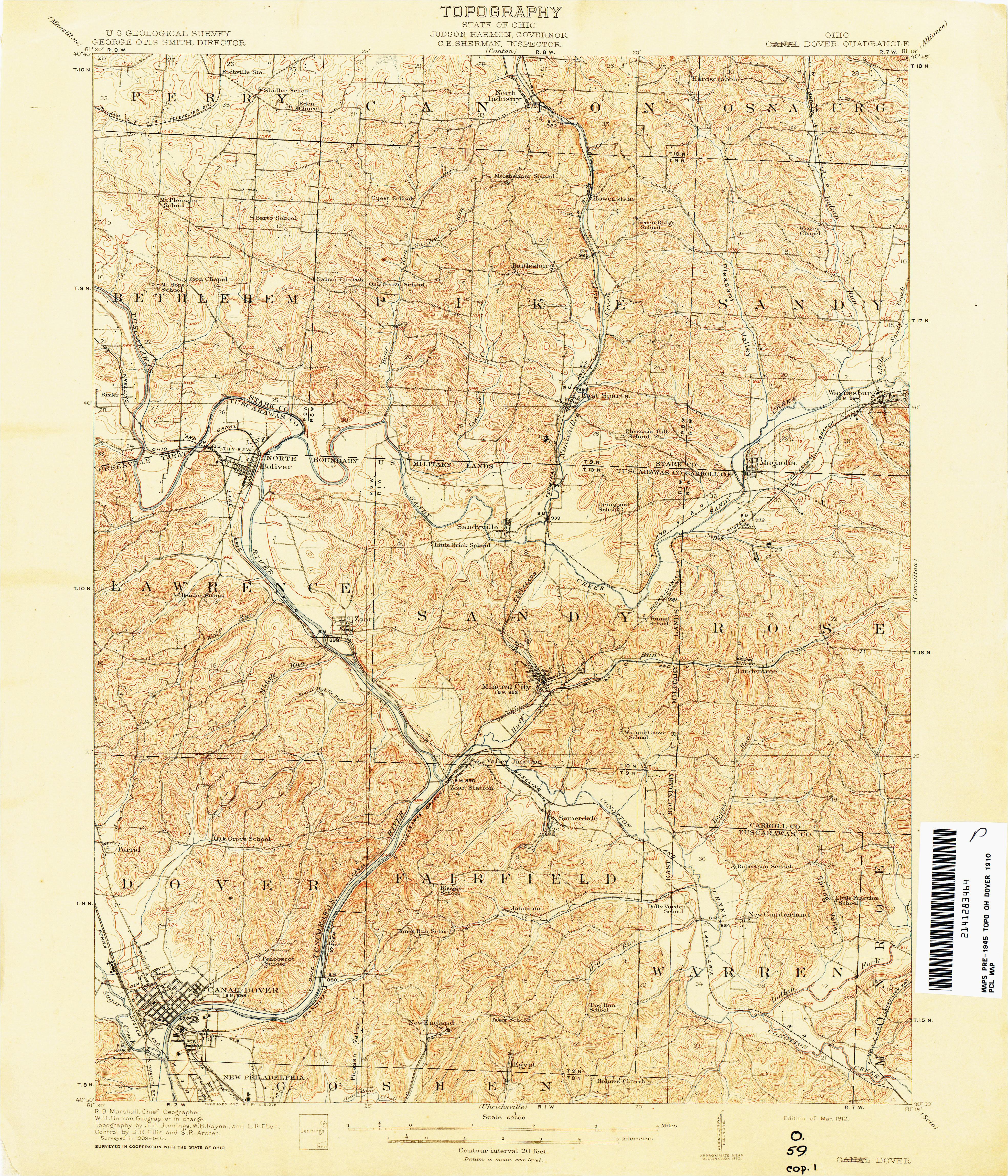 dover ohio map ohio historical topographic maps perry castaa eda map