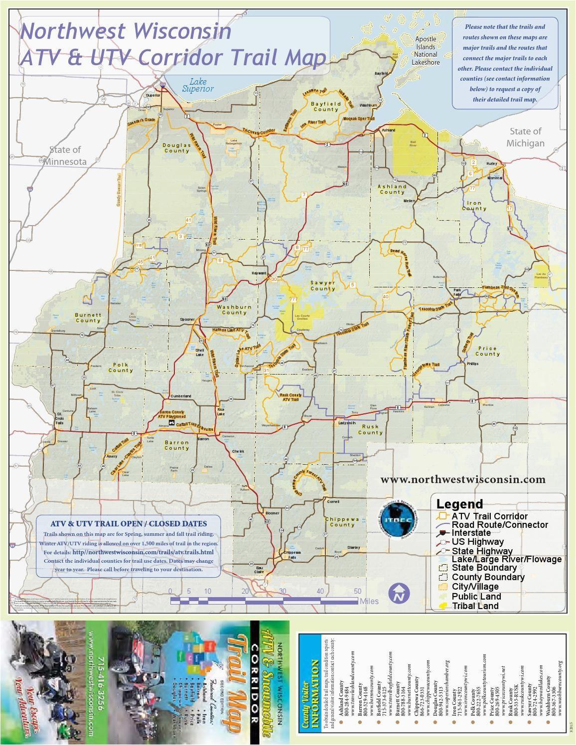 nw wisconsin atv snowmobile corridor map 4 wheeling trail maps