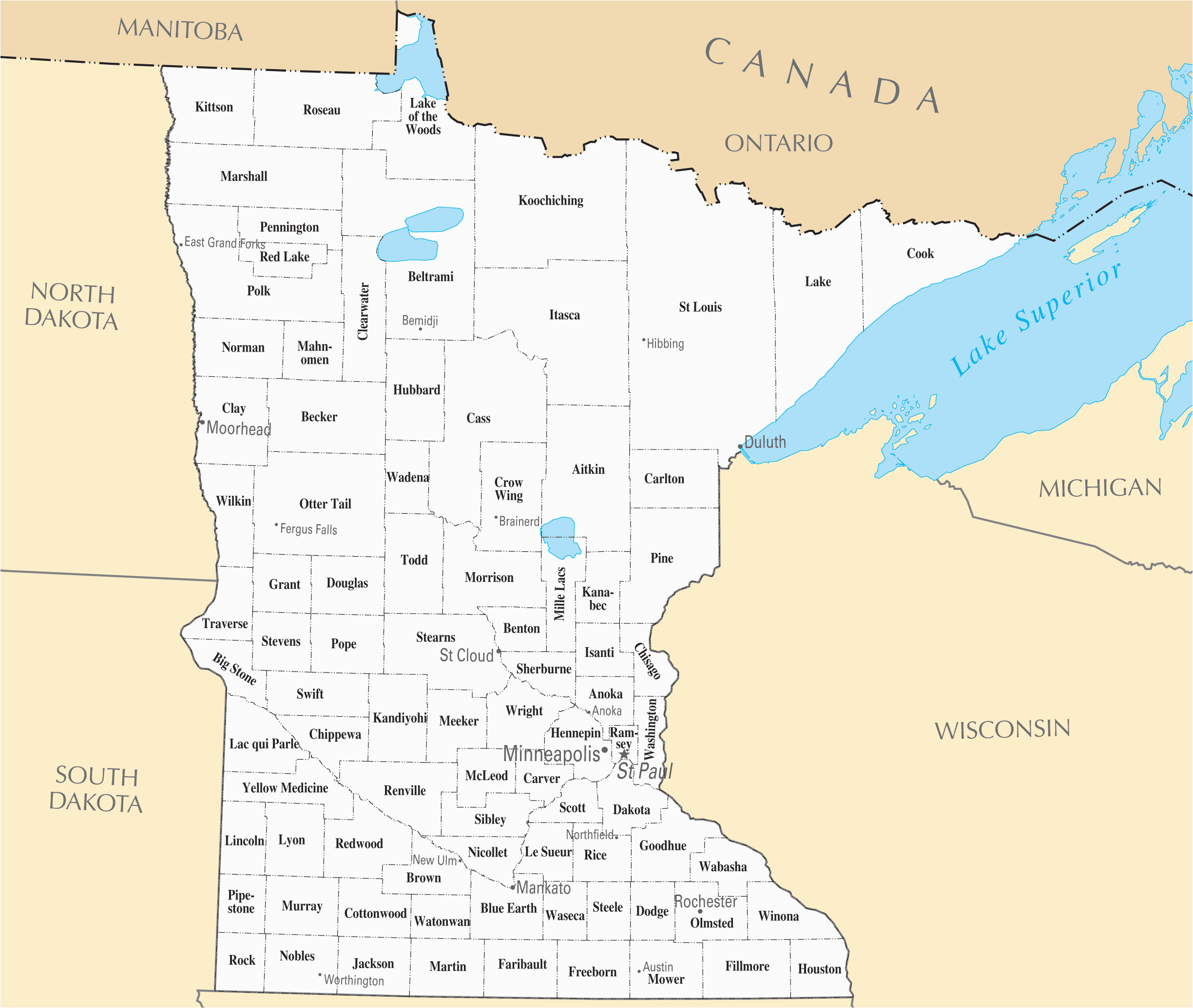 mn county maps with cities and travel information download free mn