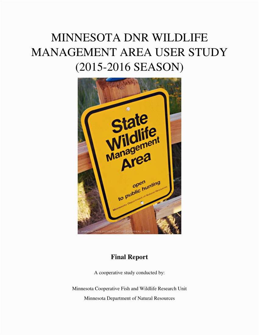 pdf minnesota dnr wildlife management area user study 2015 2016