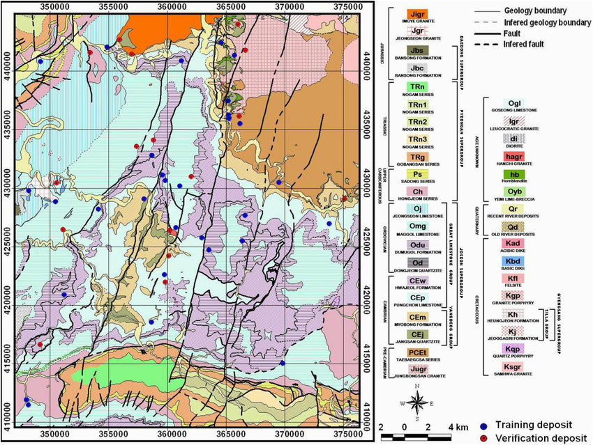 geological map with mineral deposits combined geological map of