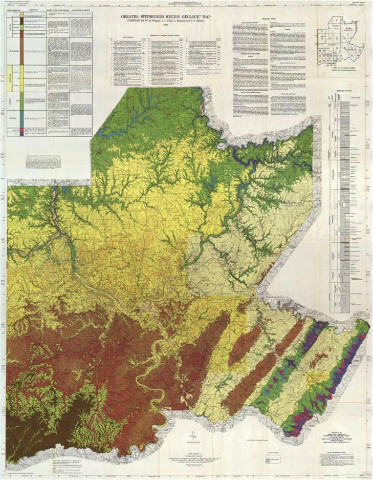 greater pittsburgh region geologic map pennsylvania geology penn