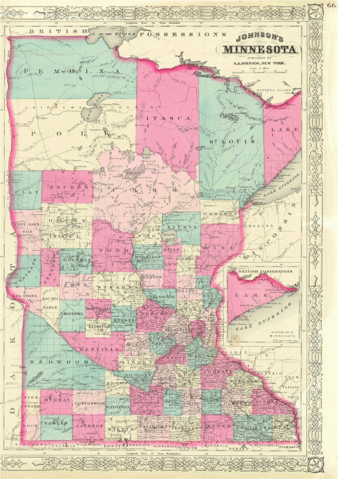 1852 mitchell minnesota territory map before north or south dakota