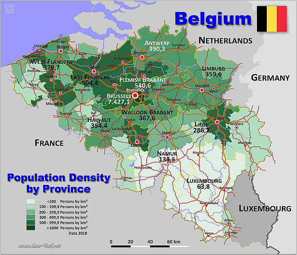 Minnesota Population Density Map Belgium Country Data Links and Map by Administrative Structure
