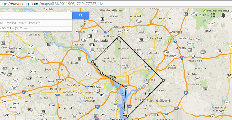 google maps has finally added a geodesic distance measuring tool