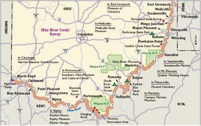 map kentucky and ohio indiana scenic drives ohio river scenic byway