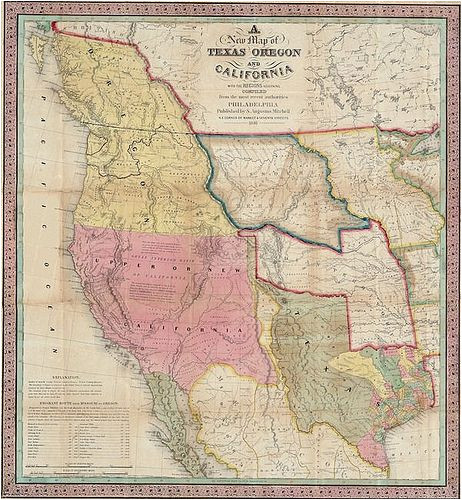 map of texas california and oregon 1846 map usa cartography