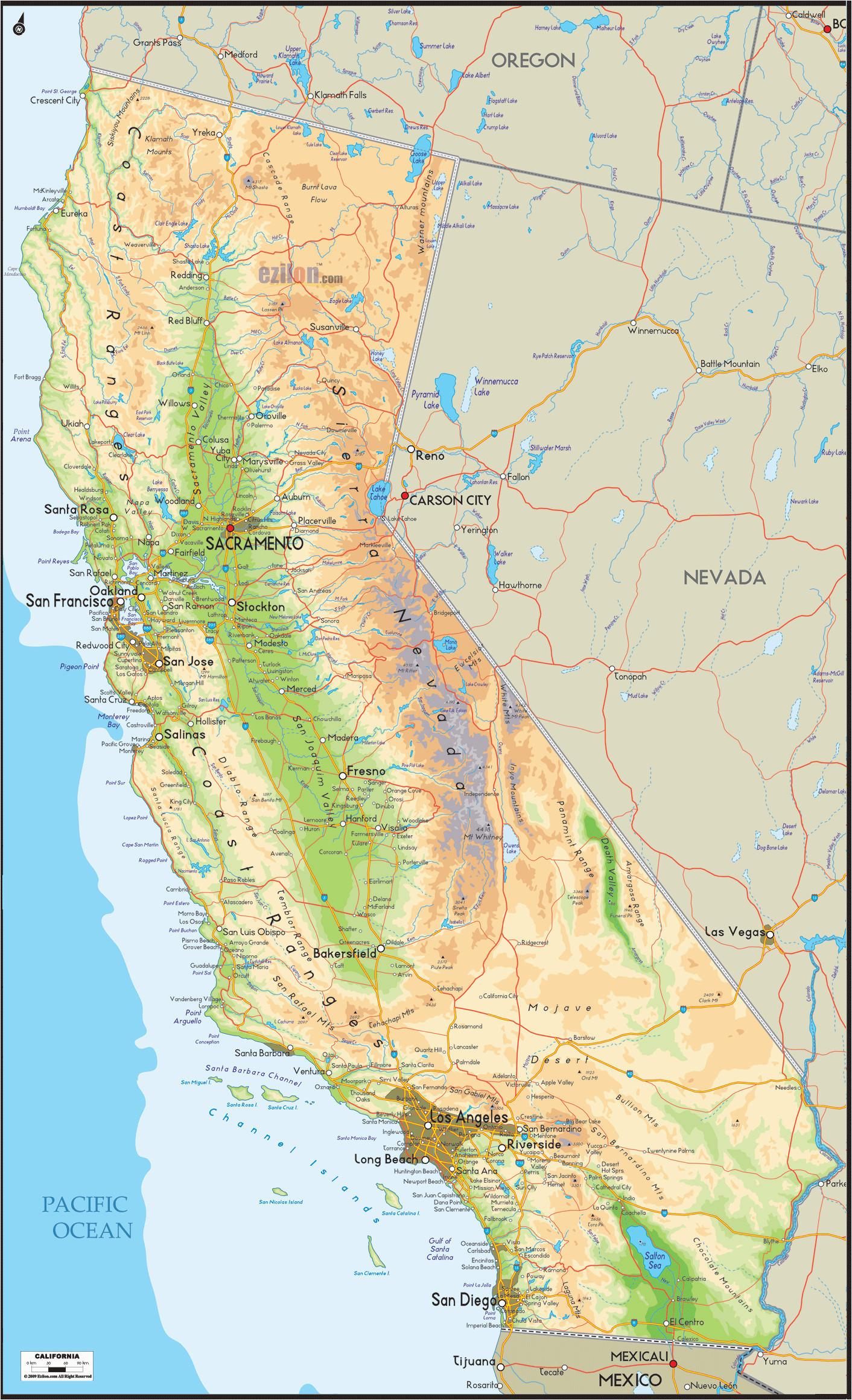 Oregon Mountain Ranges Map California Mountain Range Map