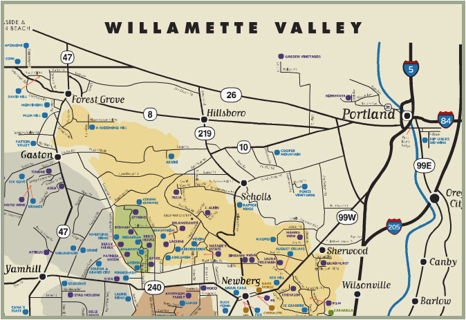 Oregon Wine Country Map Pdf Oregon Winery Map
