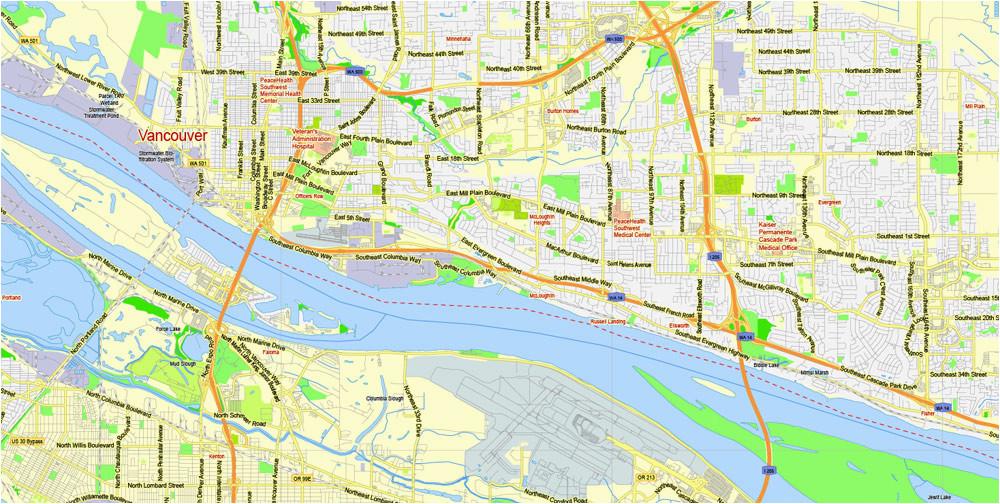 portland vancouver oregon city salem large area printable map