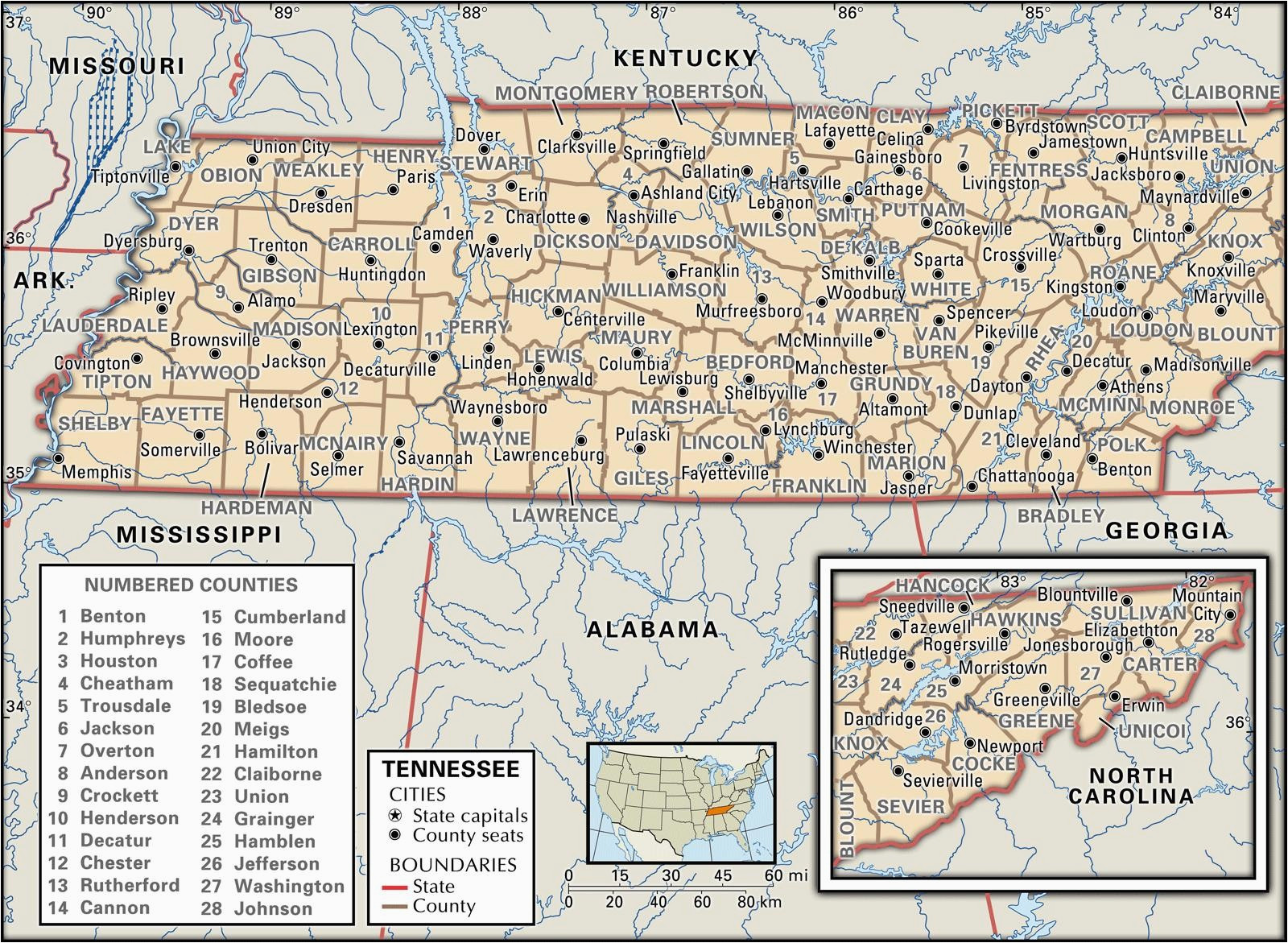 image relating to Printable Map of Tennessee Counties identified as Printable Map Of Tennessee Counties A Map Of Tennessee