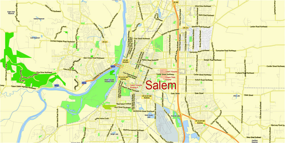 Salem oregon Street Map | secretmuseum