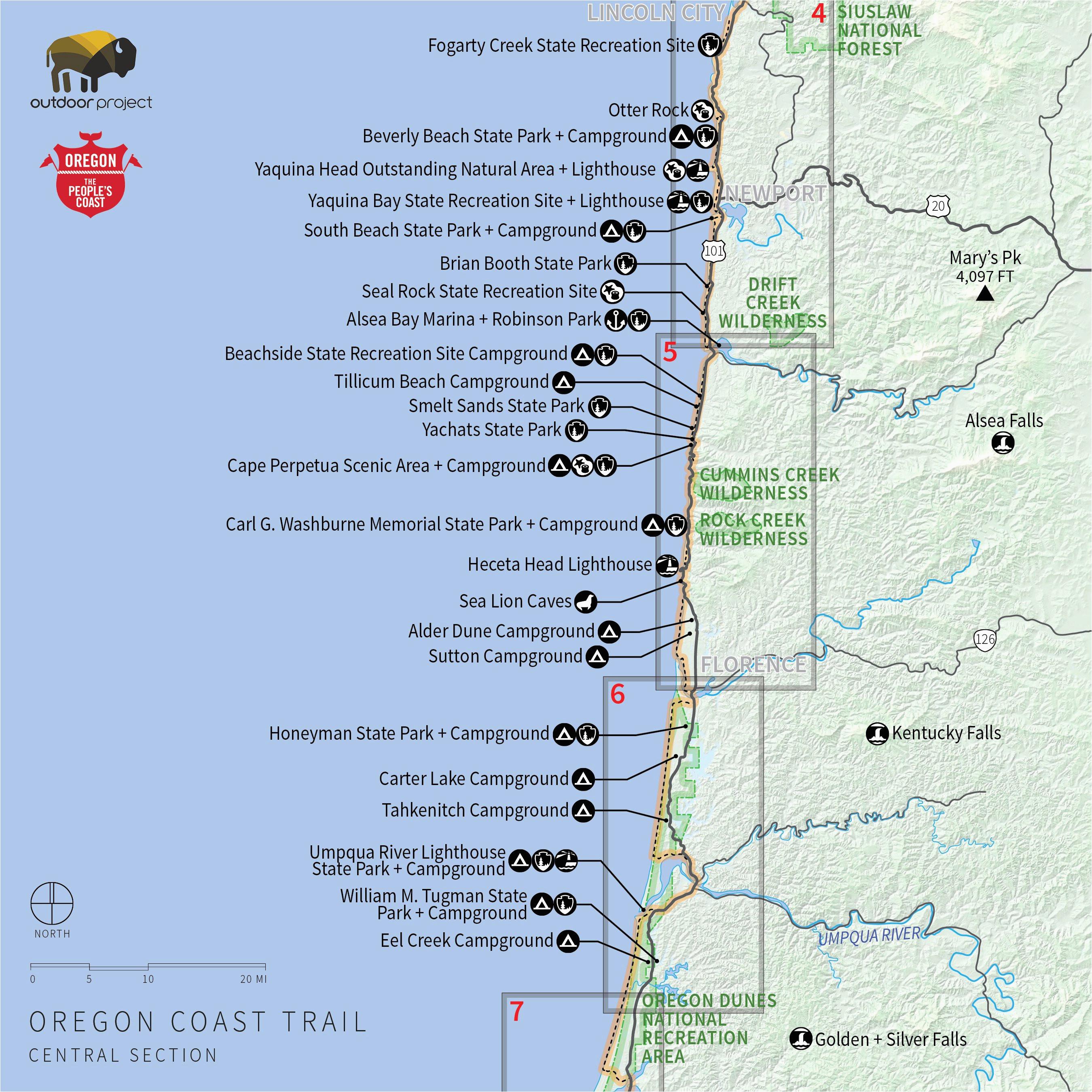 Map Of South Oregon South oregon Coast Map   secretmuseum