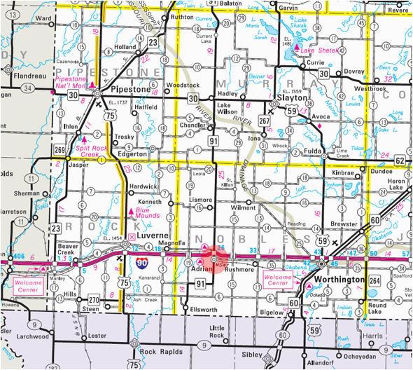 State Of Minnesota Road Map Guide to Adrian Minnesota ...
