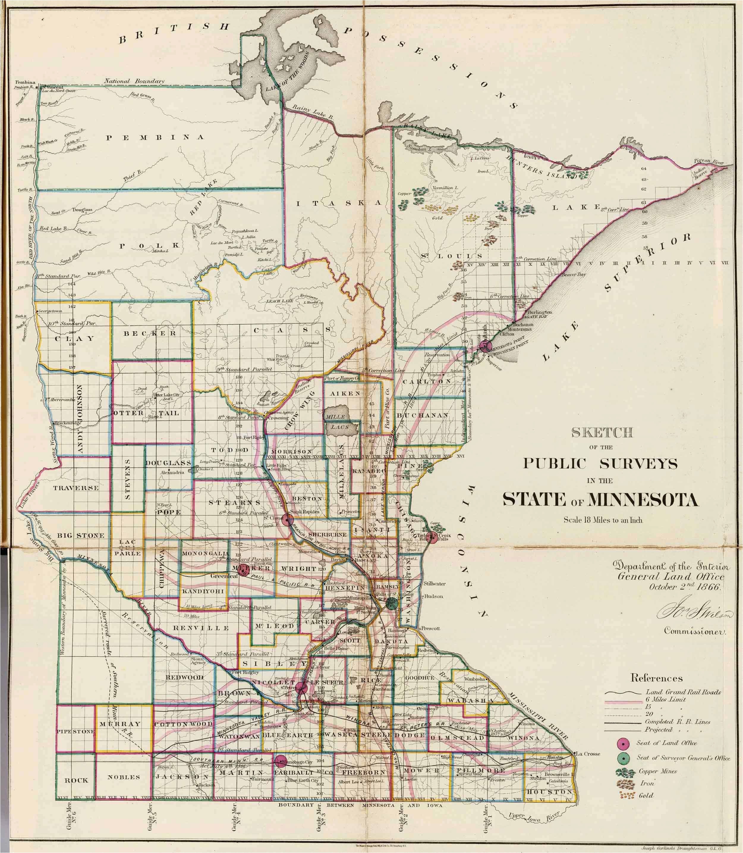 State Of Minnesota Road Map Old Historical City County and ...