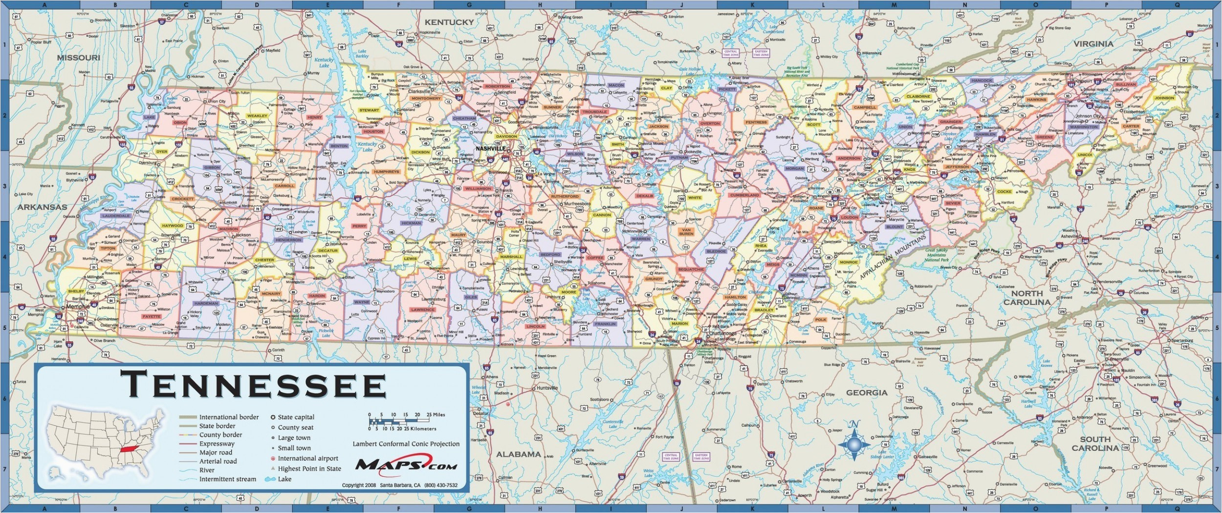 Tennessee Map with Cities and Counties | secretmuseum