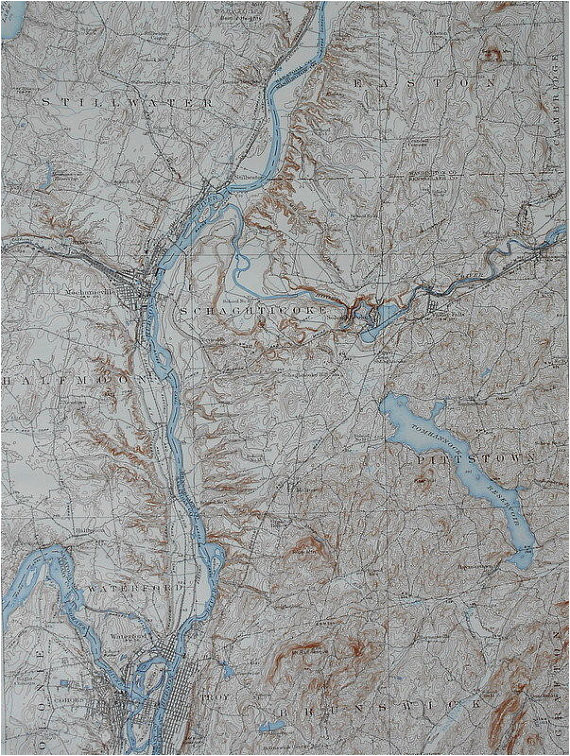 1937 large vintage topographic map stillwater easton scaghticoke