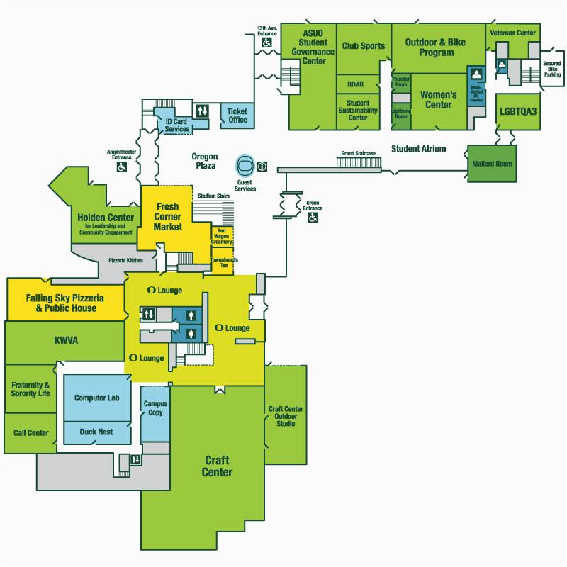 U Of oregon Campus Map Map Erb Memorial Union – secretmuseum