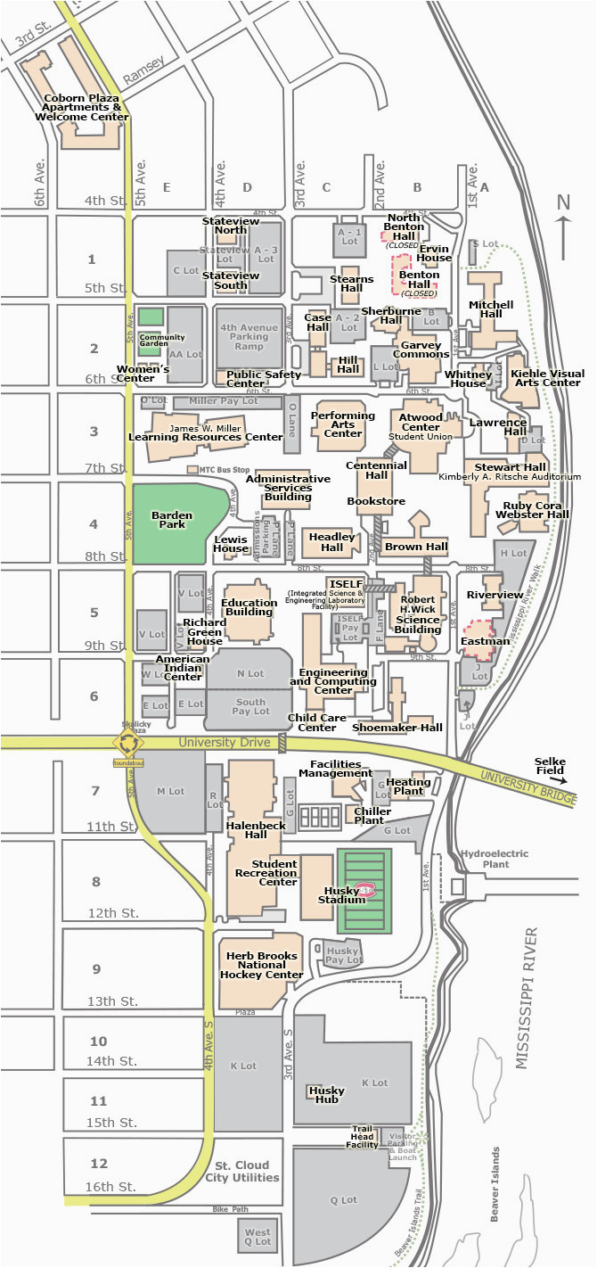 University Of Minnesota Campus Map Pdf Campus Map St Cloud State University