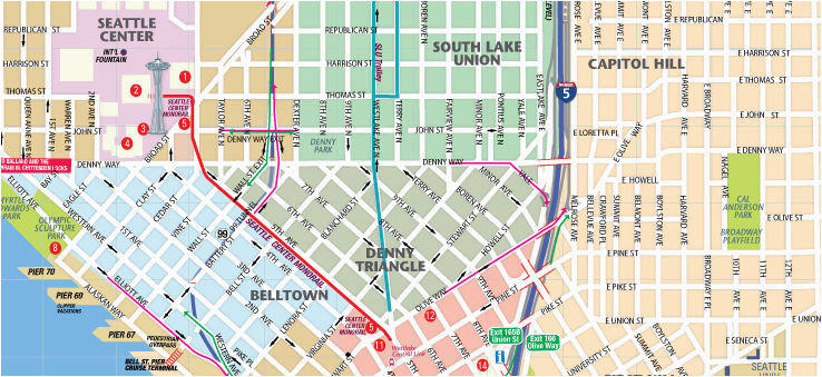 map of downtown seattle interactive and printable maps wheretraveler